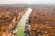 Epic panoramic aerial cityscape of Venice with Santa Maria della Salute church and Rialto bridge in Veneto, Italy  - 262117797