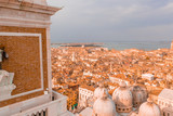 Epic panoramic aerial cityscape of Venice with Santa Maria della Salute church and Rialto bridge in Veneto, Italy