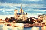 Notre Dame of Paris. Painting on canvas.