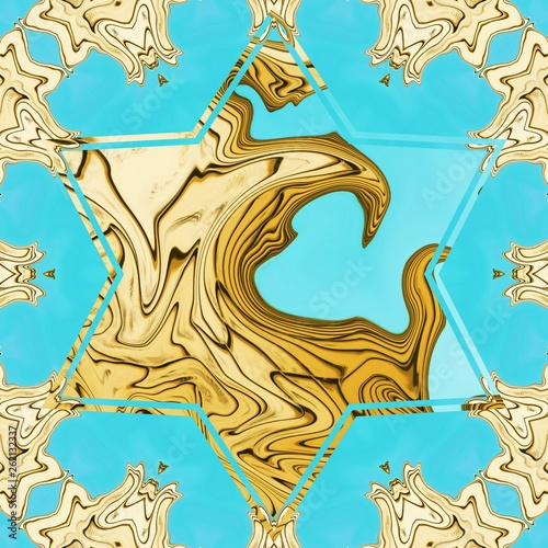 Liquid gold effect oil painting artwork. Creative luxury design. Golden colors pattern background. © Avgustus