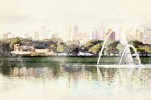 "Постер, картина, фотообои ""Sao Paulo skyline view from Ibirapuera Park. Beautiful digital watercolor art of famous place in the city."""