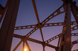 Low angle of steel bridge structure on beautiful clear twilight sky background - 262139764