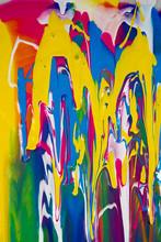 "Постер, картина, фотообои ""stains of multi-colored paint close-up"""