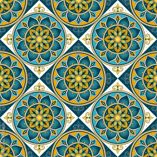 Italian tile pattern vector seamless with flowers motifs. Portuguese azulejos, mexican talavera, venetian, sicily majolica or spanish ceramic. Mosaic background for kitchen wall or bathroom floor.