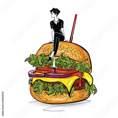 Burger with stylish girl in the sketch style on the white background. © Yevhen