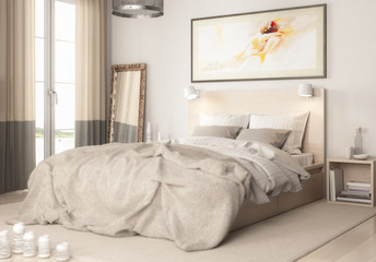 Contemporary Bedroom Arrangement (detail) - 3d visualization