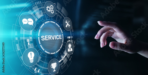 Zobacz obraz Service support customer help call center Business technology button on virtual screen.