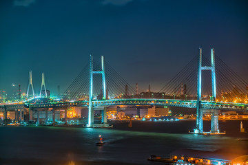 Yokohama Bay Bridge at night, Japan