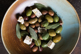 Olives with cheese and olive oil