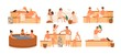 Collection of people bathing in sauna or banya full of steam. Set of happy men and women taking bath, washing their bodies. Activity for wellness and recreation. Flat cartoon vector illustration.