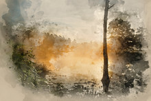 """Постер, картина, фотообои """"Watercolour painting of lake in forest countryside landscape at sunrise dawn"""""""
