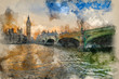 Watercolor painting of Big Ben and Westminster Bridge during Winter sunset. - 262193583