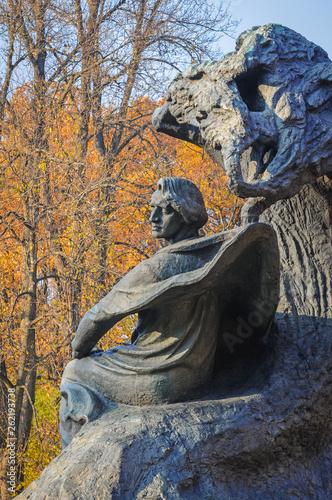 Polish composer Frederic Chopin monument in Royal Baths Park in Warsaw, capital of Poland