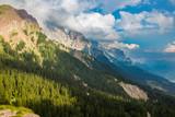 Dolomite mountain landscape in Passo di Rolle, Italy.