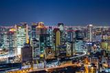Osaka downtown skyline from Umeda sky building at night