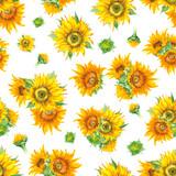 Sunflower seamless pattern watercolor