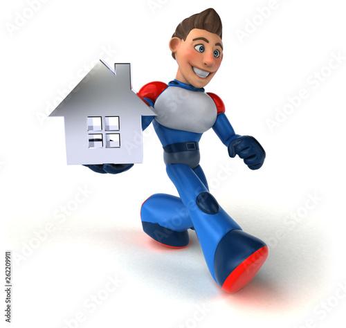 Super modern superhero - 3D Illustration - 262209911
