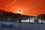 pont des arts bridge and barge on Seine river