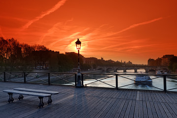 pont des arts bridge and barge on Seine river © hassan bensliman