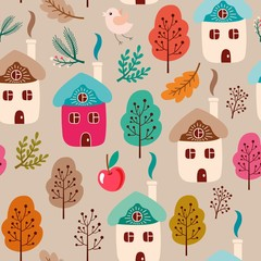 Vector seamless forest pattern with colorful houses, trees and leaves