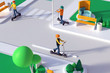 Leinwandbild Motiv Persons riding electric kick scooters, wearing safety helmet, in motion, on the city streets. Modern ecological urban transportation symbol. 3D rendering, minimalist, high resolution, copy space