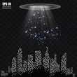 UFO light beam isolated on transparnt background. Vector illustration - 262231958