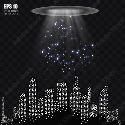 UFO light beam isolated on transparnt background. Vector illustration - 262231958