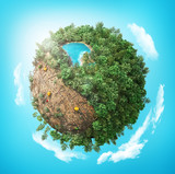 Cutting down of tree. Ecology concept. Stumps in the planet. 3d illustration