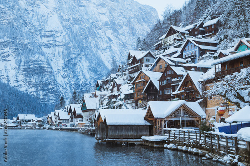 Hallstatt in mystic twilight in winter, Salzkammergut, Austria © JFL Photography