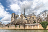 Notre Dame de Paris Cathedral, most beautiful Cathedral in Paris. View from the River Seine. France