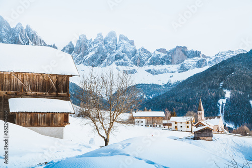 Dolomites mountain peaks with Val di Funes village in winter, South Tyrol, Italy © JFL Photography