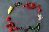 Composition from hot peppers ,seasoning and spices on gray background top view