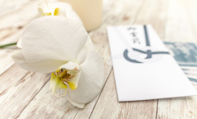 Japanese Condolence Funeral Envelope with money and an orchid flower