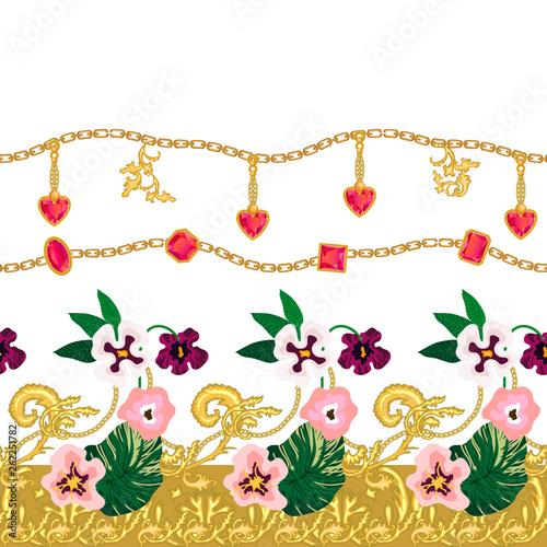 Elegant dress border with baroque motifs.