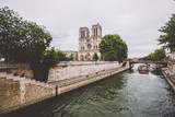 Notre dame cathedral from river Seine in Paris. Notre dame cathedral from river Seine Paris, France