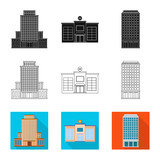 Vector illustration of municipal and center symbol. Collection of municipal and estate   stock vector illustration.