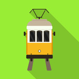 Vector design of tram and lisbon icon. Set of tram and railway stock vector illustration.