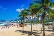 Quadro Leme and Copacabana beach in Rio de Janeiro, Brazil. Copacabana beach is the most famous beach in Rio de Janeiro. Sunny cityscape of Rio de Janeiro