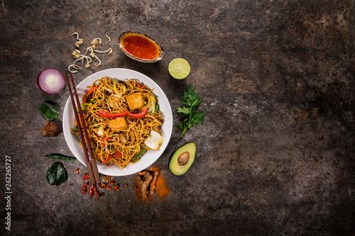 Leinwandbild Motiv Vegetarian tofu asian food background on rustic stone background.