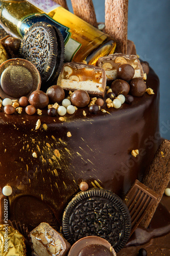macro two layers chocolate cake rich decoration - 262268127