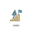 career concept 2 colored line icon. Simple yellow and blue element illustration. career concept outline symbol design