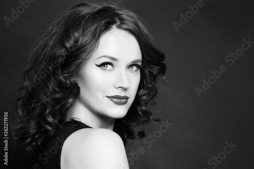 canvas print picture Beautiful woman black and white portrait