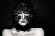 Quadro Halloween character, black and white portrait. Bird woman makeup on dark