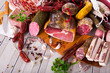 canvas print picture - Variety of meats on table