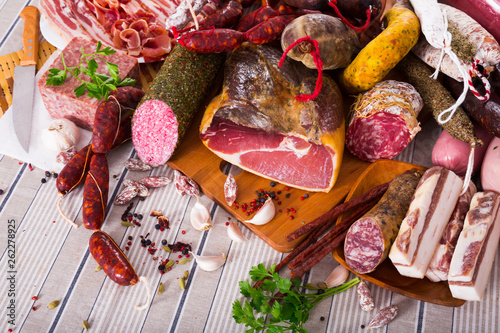 canvas print picture Variety of meats on table
