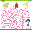 maze game with cartoon dogs and cute girl