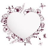 Poppies paper heart