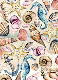 Seashells paper, marine background. Watercolor seahorse, starfish and other shells. Travel, beach design. Hand drawing.  - 262286126