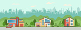 Suburban houses along the street. Set private houses in flat design style. Colorful residential houses and trees.