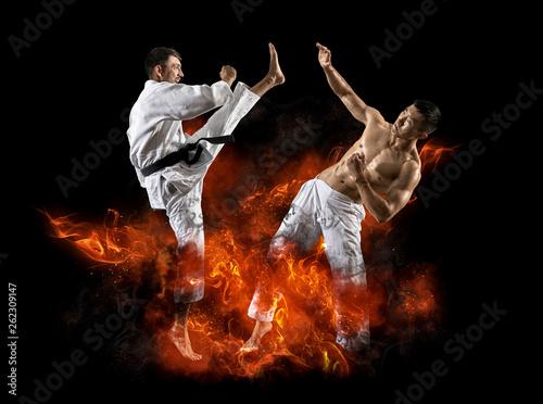 fototapeta na ścianę Martial arts masters, karate practice